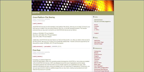 Simple PHP Blog asustor NAS App