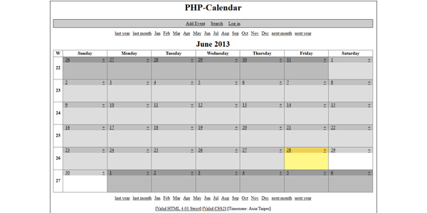 php-calendar asustor NAS App