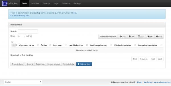 UrBackup Server asustor NAS App