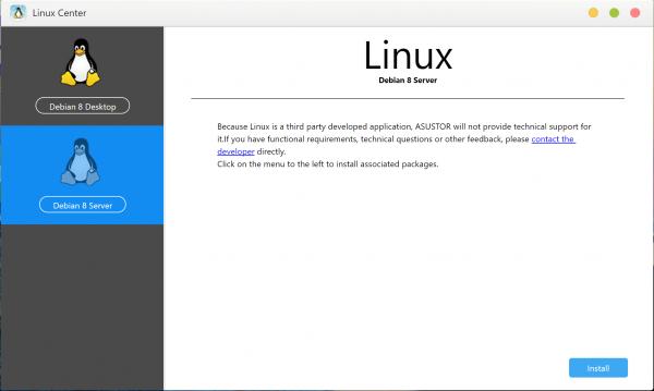 Linux Center asustor NAS App