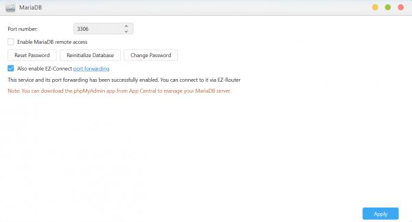 MariaDB asustor NAS App