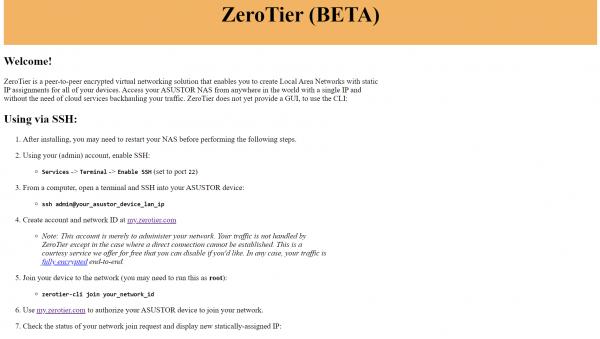 ZeroTier asustor NAS App